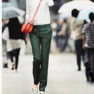 JCrew Hunter Green Wool Straight Leg Trouser Pants